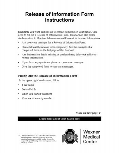 Release of Information Form Instructions - Patient Education Home
