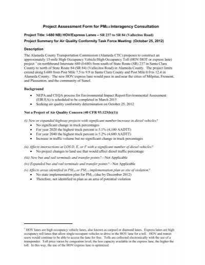Project Assessment Form for PM2 - State of California