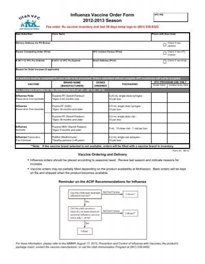 Influenza Vaccine Order Form 2012-2013 Season - Utah