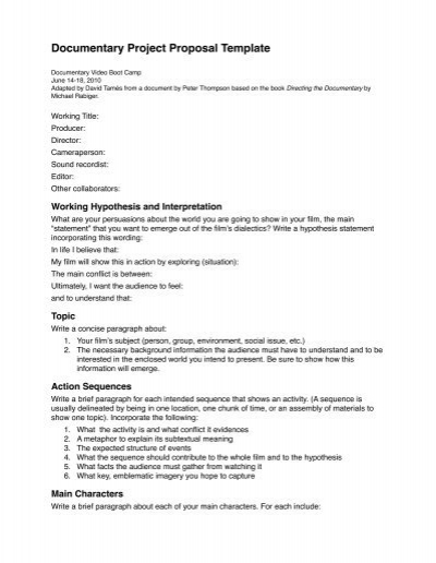 Documentary Project Proposal Template - Kino