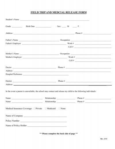 FIELD TRIP AND MEDCIAL RELEASE FORM - Heritage Christian