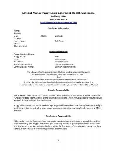 Ashford Manor Puppy Sales Contract  Health Guarantee - puppy sales contract