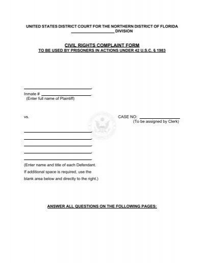 Civil Rights Complaint Form - the Northern District of Florida - civil complaint form