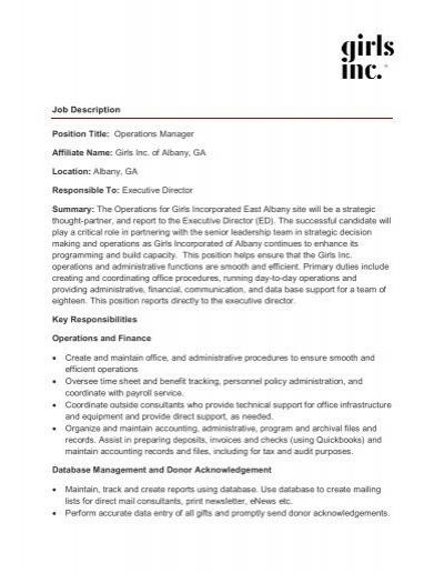 Job Description Job Title\/ position Day Services Manager D - technical director job description