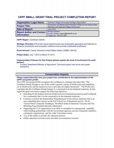 final project completion report - Critical Ecosystem Partnership Fund - project completion report