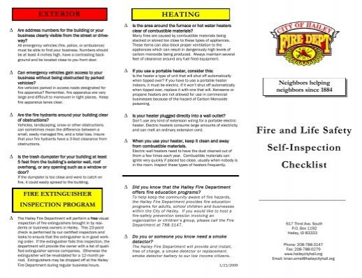 Fire And Life Safety Self Inspection Checklist City Of