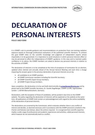 Declaration of personal interest