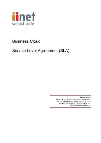 Business Cloud Service Level Agreement (SLA) - iiNet