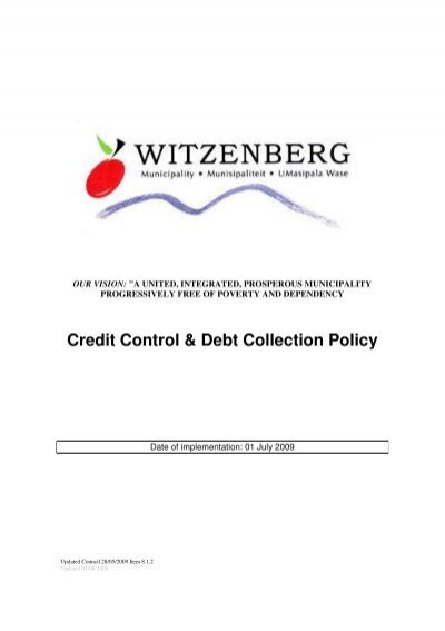 Credit Control  Debt Collection Policy - Witzenberg Municipality