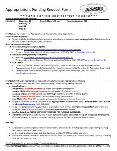 Appropriations Funding Request Form - Seattle University - funding request form