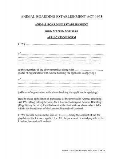 dog sitting service) licence application form