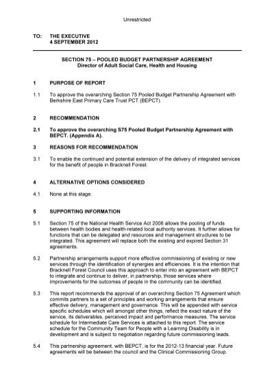 Section 75 Pooled Budget Partnership Agreement PDF 22 KB