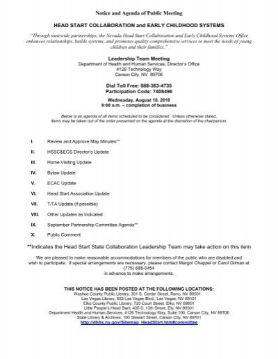 Notice and Agenda of Public Meeting **Indicates the Head Start - collaboration meeting agenda