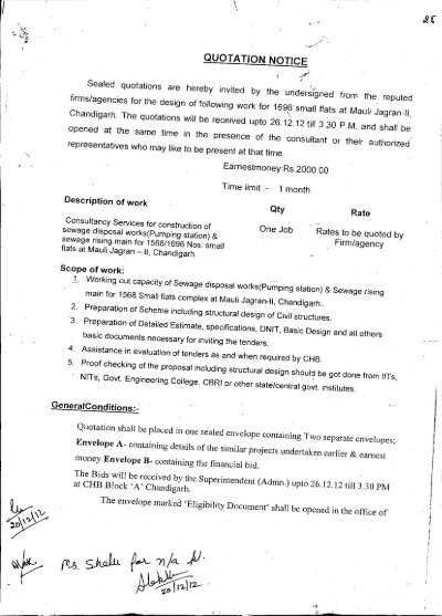 Quotation notice for Consultation services - Chandigarh - consultant quotation