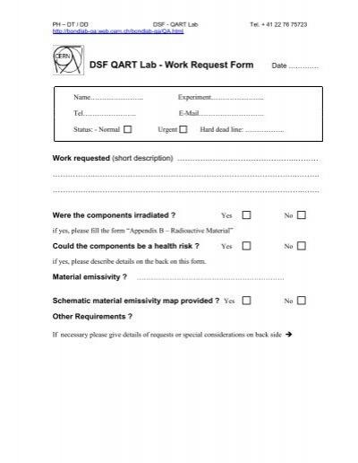 Work Request Form - Bondlab and Quality Assurance Lab - CERN