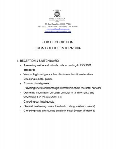 JOB DESCRIPTION FRONT OFFICE INTERNSHIP - office intern job description