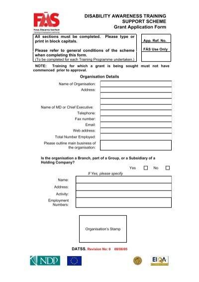 Disability Awareness Training Grant Application Form - FÃ S
