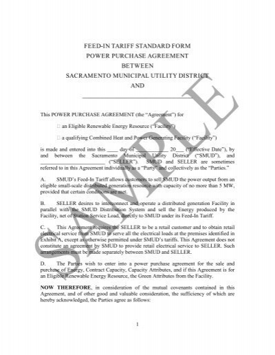 Standard Form Power Purchase Agreement - Sacramento Municipal - power purchase agreement