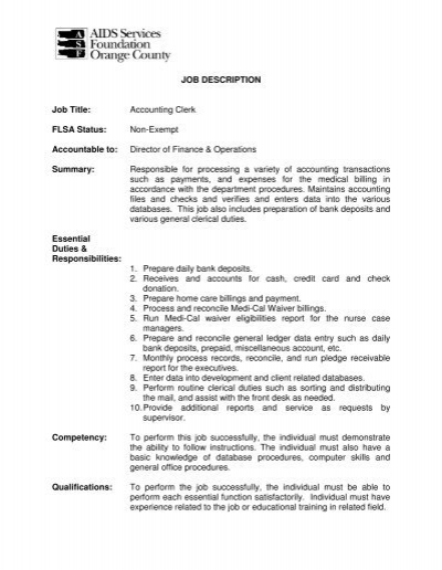 JOB DESCRIPTION Job Title Accounting Clerk FLSA Status Non - Accounting Job Titles