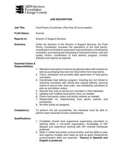 JOB DESCRIPTION POSITION Volunteer Coordinator