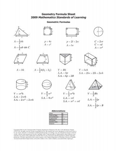 Geometry Formula Sheet - Virginia Department of Education