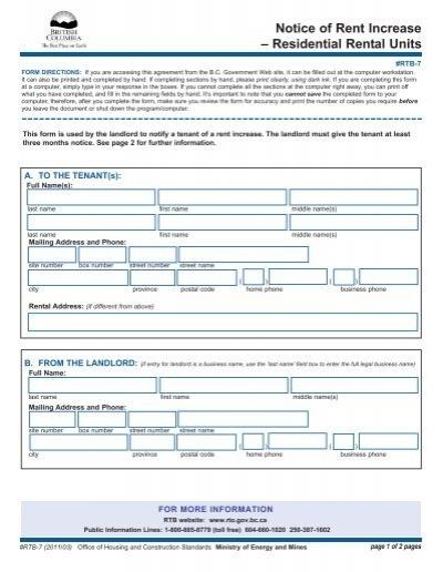 Notice of Rent Increase - Consumer Affairs Victoria