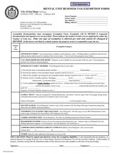 rental unit business tax exemption form - City of San Diego - tax exemption form