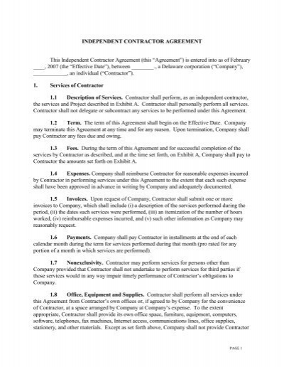 Doc#400518 Sample Independent Contractor Agreement u2013 Independent - independent contractor agreement form