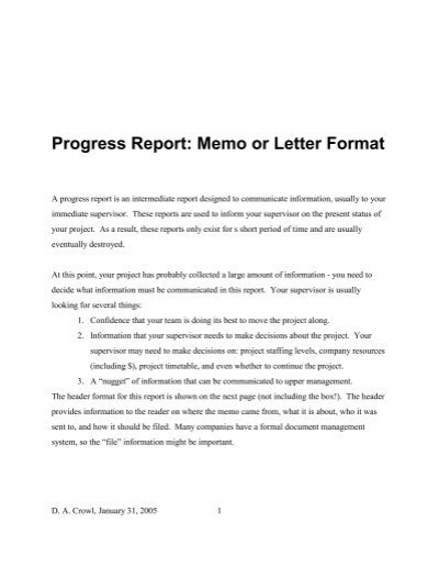 Progress Report Memo or Letter Format