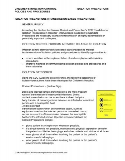 children\u0027s infection control isolation precautions policies and - isolation precautions
