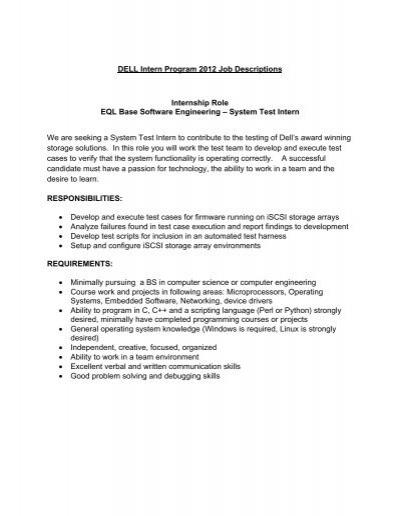 UNH Intern Program 2012 Job Descriptions 2 - Computer Science