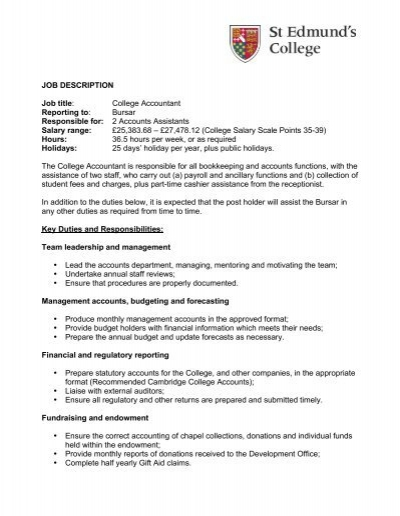 Job Description Staff Accountant records routine daily, weekly, and - Accounting Job Titles