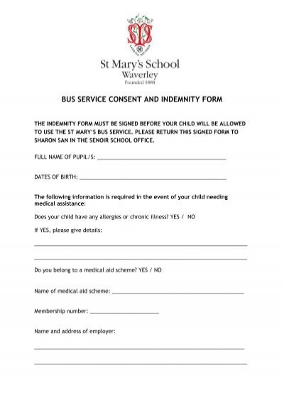BUS SERVICE CONSENT AND INDEMNITY FORM - St Maryu0027s School - indemnity form template