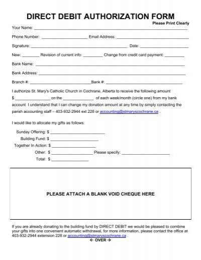 DIRECT DEBIT AUTHORIZATION FORM - St Mary\u0027s Parish - direct debit form