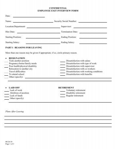 CONFIDENTIAL EMPLOYEE EXIT INTERVIEW FORM Date Name