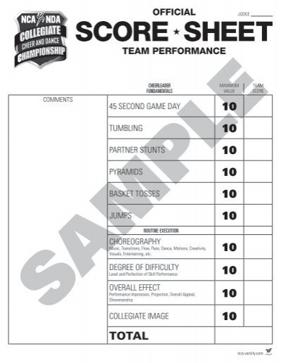 Cheerleading Tryout Score Sheet Sample Phase Score Sheet Template - sample phase 10 score sheet template