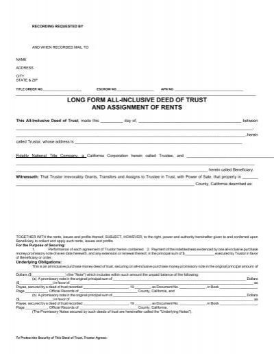 Inclusive Deed of Trust Assignment - deed of trust form