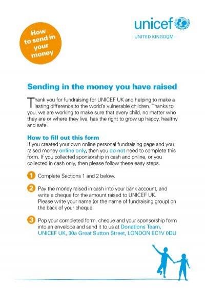 Sending in your money form - Unicef UK - how to make a sponsor form