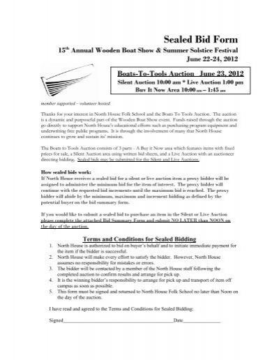 Sealed Bid Form - North House Folk School - sealed bid form template