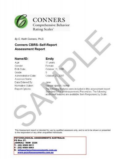 Conners CBRS\u2013Self-Report Assessment Report - Psychological