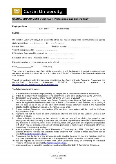 CASUAL EMPLOYMENT CONTRACT (Professional and General Staff)