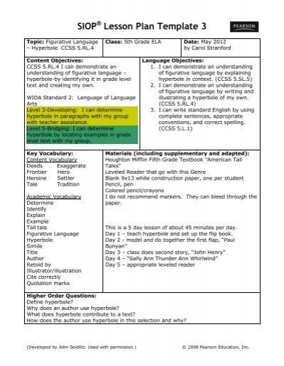 SIOP Lesson Plan â\u20ac\u201c Fairy Tales 2 - Washoe County School District