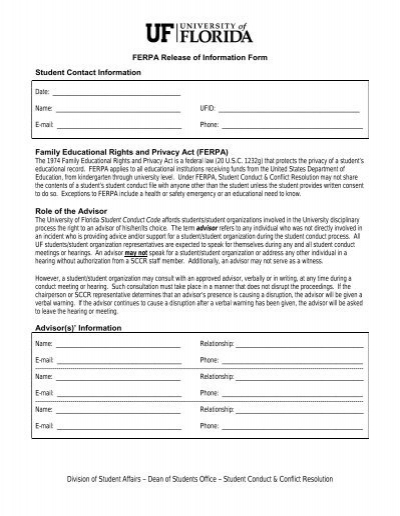 Release of Information Form - Dean of Students Office - University