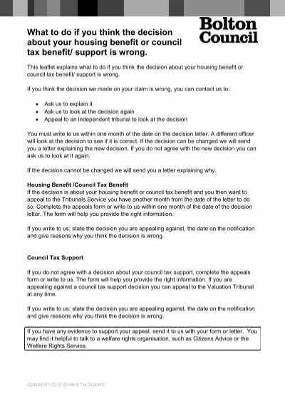 Appeal form for Housing/Council Tax Benefit and Council Tax Support - housing benefit form