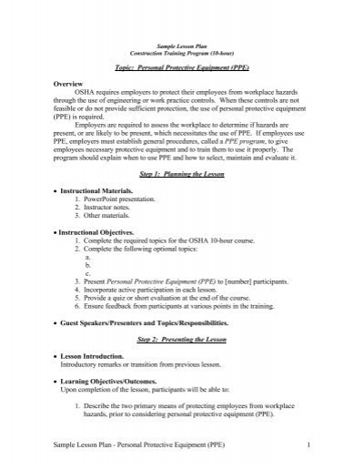 Sample Lesson Plan - Personal Protective Equipment (PPE) 1 Topic
