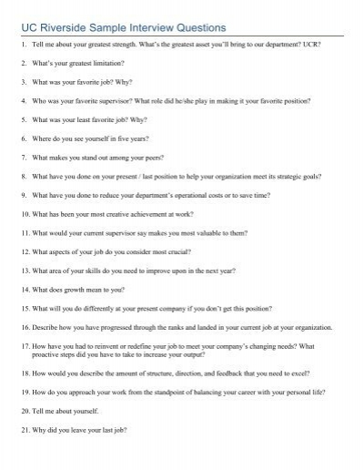 Sample Interview Questions - sample interview questions