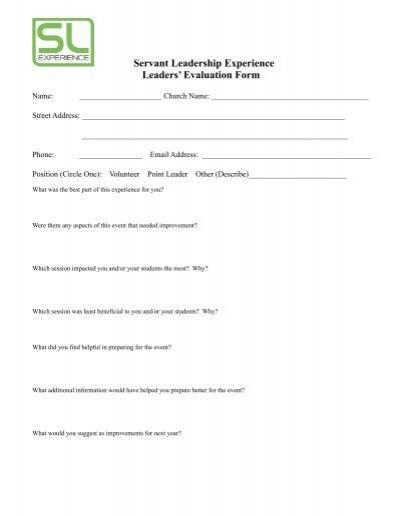Servant Leadership Experience Leaders\u0027 Evaluation Form