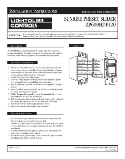 SUNRISE PRESET SLIDER ZP600HDF120 - Philips Lighting Controls