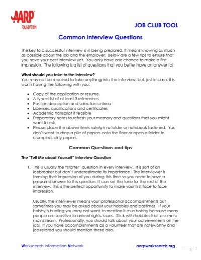 JOB CLUB TOOL Common Interview Questions - AARP WorkSearch