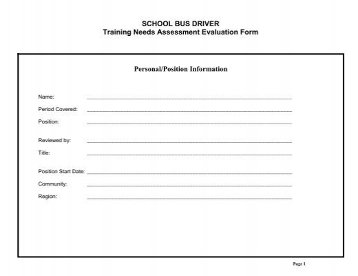 TRUCK DRIVER Training Needs Assessment Evaluation Form